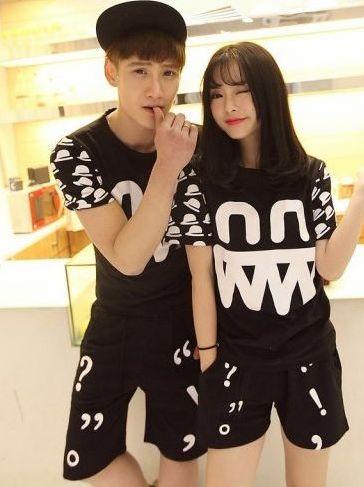 Korean Casual Beach Fashion Letter Patten Crew Neck Color Block Short Sleeve Couple Pajama Sets