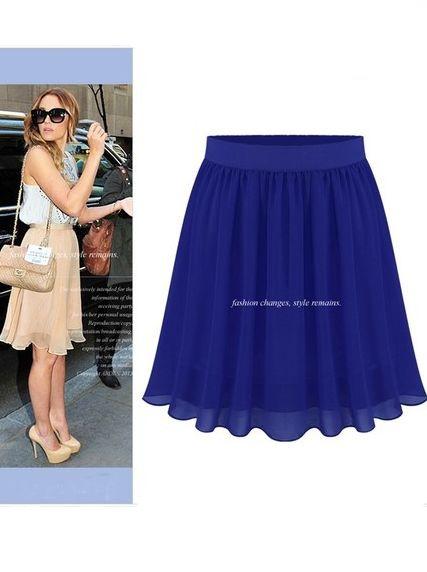 Summer Fashion Women Chiffon Elastic High Waist Short Skirts 2014 New Supply Solid Color Pleated Hot Popular Skirts