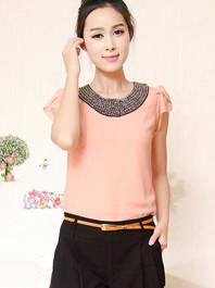 Comfortable Loosing-Fitting Chiffon Beading Round Collar Plus Size Short Ruffles Sleeve Blouse