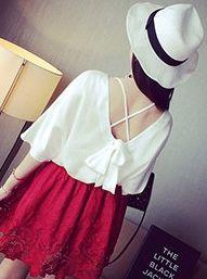 Korea Street Style Bow Round Collar Loose Short Bat Sleeve Blouse