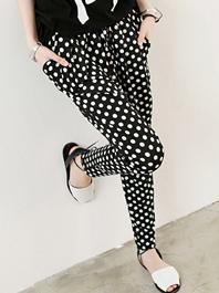 New Arrival Low Price Women Pants Dots Color Block Slim Looking Long Pants
