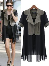 Fashion Girl Special Style Lapel Chiffon Montage Zipper Design Women Blouses