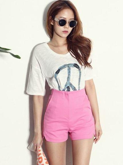 Great Craze Cute Slap High Waist Slit Pockets Solid Color Zip Up Fitted Korea Leisure Short Pants
