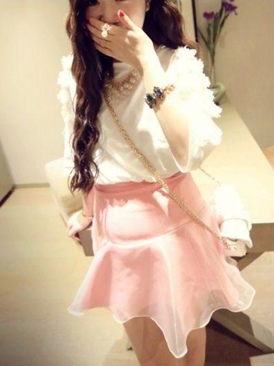Korean Style Charming Girl Off Shoulder Floral Design Round Neck Women T Shirt