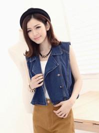 Korean Fashion Chic Designed Denim Sleeveless Lapel Loose Version Short Jackets