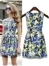 Best Original Brand Organza Patch Work Floral Crew Neck Sleeveless Natural Waist Zip Up Pleated Dress