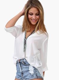 European Fashion Easy Match V Neck Long Sleeve Women Chiffon T Shirt