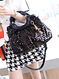 Newest European Super Luxury Fashion Sequin Zipper Solid Color Hand Bag