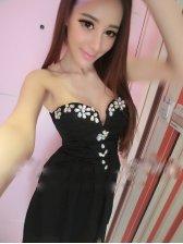 Newest Sexy Lady Club Wear Charming Beading Decorated Chiffon Backless High Waist Strapless Dress