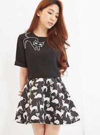 Summer Korean Lovely Cat Patten Round Collar Back Zipper Short Sleeve Fluffy Two Piece Dress