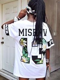 Punk Style Round Collar Color Block Letter Print Short Sleeve Loose Hip Hop T-Shirt
