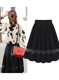 Easy Match Cozy Wear Pleated Patch Work High Waist Black Short Skirts