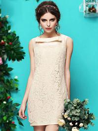 Palace Style Vintage Euro Style Bowknot Round Neck Sleeveless Zip Up Dress