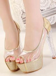 Sexy Club Wear Fashion Transparent Chunky Heels Color Block Platform Peep-toe Sandals