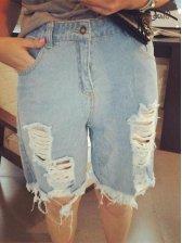 Top Popular Special Design Color Block Hole Zipper Up Pockets Low Waist Half Pants