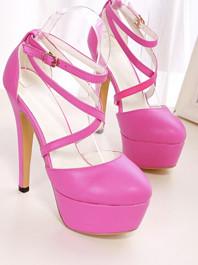 2014 New Korean Fashion Cross Belt Round Toe One-buckle Solid Color Platform Thin Heels