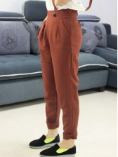 Korean Style Wholesale New Arrival Zip Up Loose Easy Match Women Pants