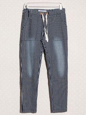 Japanese Vintage Style Striped Loose Long Color Block Mid Waist Harem Pants