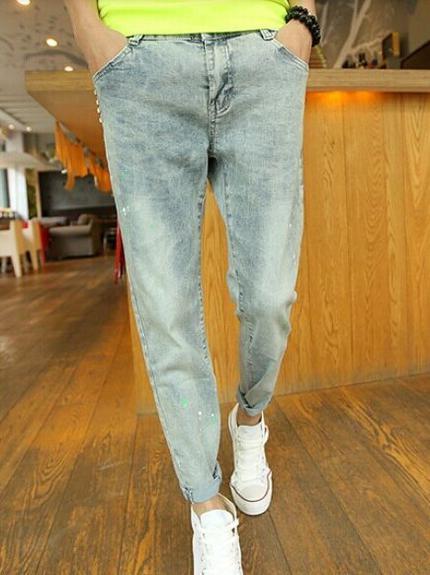 Exquisite Korea Street Style Rivert Color Block Zipper Up Pockets Low Waist Long Pants