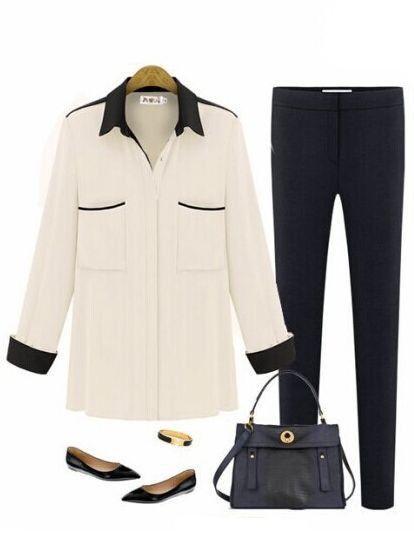 Modern Style City Lady Multicolor Single-Breasted Lapel Long Sleeve Pockets Chiffon Blouses