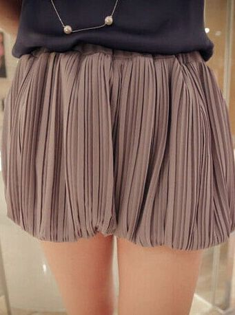 Top Selling Women Chiffon Pleated Knickerbockers Hot Pants 2014 New Summer Elastic Waist Solid Color Pumpkin Shorts