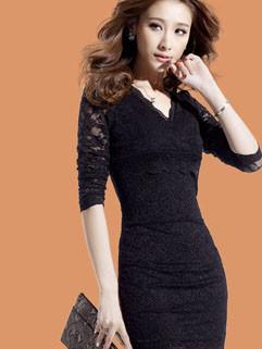 New Arrival Vintage Euro Style V Neck Lace Sleeve Slim-Waist Women Dress