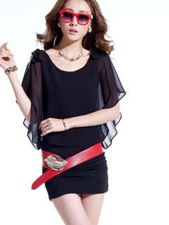 2014 Summer Latest Fashion Nightclub Sexy Wrap Bowknot Off Shoulder Chiffon Dresses