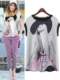 European Street Fashion Style Lace Montage Printing Sleeveless Blouses