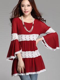 Korean Summer Popular Beautiful Chic Design O-Neck Lace Chiffon Splicing Three-quarter Flare Sleeve Blouses