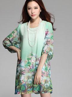 2014 Summer Newest Item Fashion Loose Leisure Printing Half Sleeve Round Collar Chiffon Women Dresses