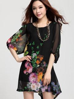 2014 Summer Stylish Popular Casual Round Collar Loose Fitting Half Lantern Sleeve Peony Pattern Chiffon Dresses