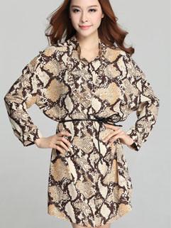 Korean Summer Latest Fashion Casual Chic Design Serpentine Single-Breasted Chiffon High Waist Batwing Sleeve Dresses