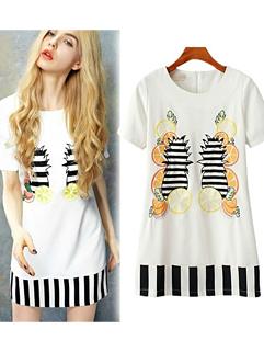 New Arrival European Fashion Stripe Color Block Short Sleeve Women Zipper Dress