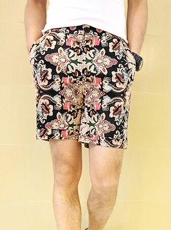 Noble And Elegant Temperament Floral Pattern Pockets Color Block Short Loose Pants