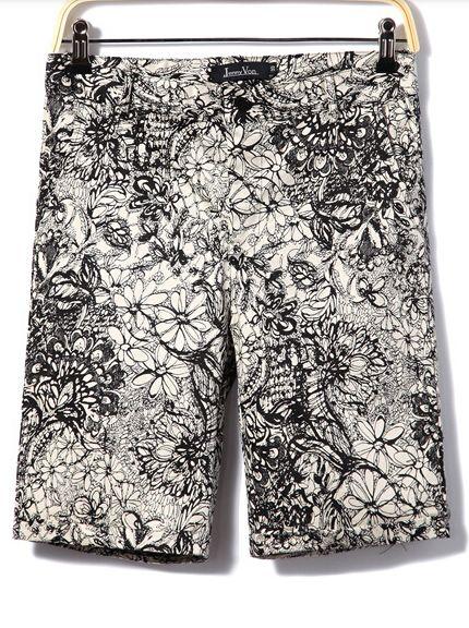 Retro Fashion New Arrival Zipper Floral Pattern Pockets Color Block Short Loose Pants