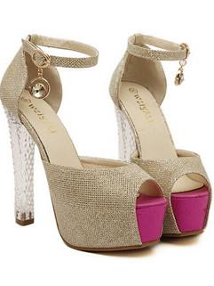 2014 Summer New Arrival Sweet Elegant Design Pure Color One-buckle Belt Peep Toe Crystal Chunky Heel Platform Sandals