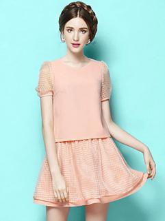 2014 Wholesale Hot Items Zip Up Slim Looking Short Sleeve Short Skirts Women Suits
