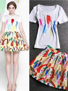 2014 European American Streetwear Style Leisure Round Collar Short Sleeve Graffiti Printing Women Two Pieces Dress