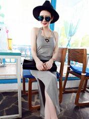 2014 Fashion Wholesale Summer Halter Backless Sleeveless Sexy Charming Cotton Female Long Dress