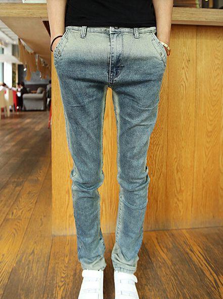 European Simple Vintage Style Color Block Ninth Skinny Denim Pockets Zipper Pants