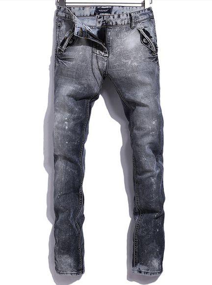 2014 Korean Hot Item Monkey Pattern Color Block Long Skinny Denim Pockets Zipper Mid Waist Pants