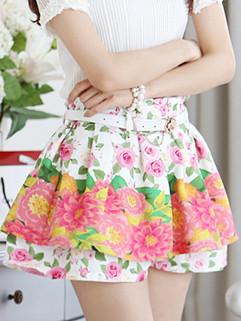 2014 Korean New Fashion Summer Women Casual High Waist Floral Printing Joker Short Skirts