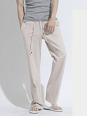 New Hot Sale Summer Leisure Item Men Individual Design Loose Fitting Solid Color Linen Pants