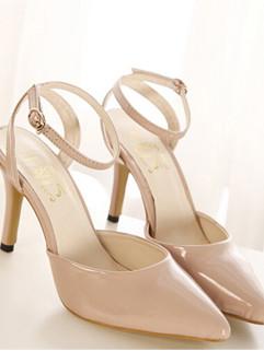 New 2014 Summer Fashion Cozy Pure Color Sharp Toe One-buckle Belt High Heel Women Sandals