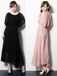 Bohemia Summer Fashion Graceful Solid Color Chiffon Round Collar Sleeveless Female Long Dress