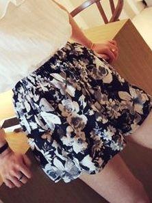 Best Korea High Quality Chiffon Floral Natural Waist Natural Waist Loose Versions Short Pants