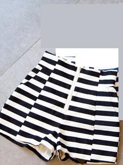 European 2014 Summer Popular Streetwear Cozy Casual Stripe Zipper Cotton High Waist Women Short Pants