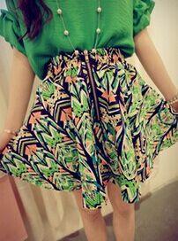 2014 Summer New Item Fashion Vintage Style Simple Design Printing Pattern Chiffon High Waist Short Skirts