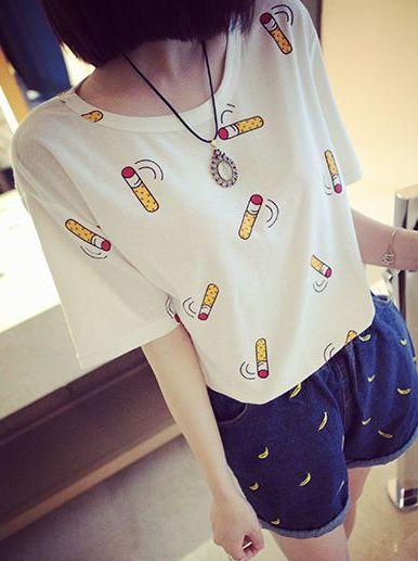 2014 Summer New Item Fashion Korean Style Simple Design Cotton Cartoon Pattern Short Sleeve  Round Neck T-Shirt