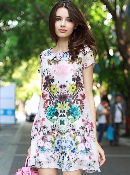 European 2014 Summer Newest Women Clothing Fashion Flower Printing Round Neck Ruffles Sleeve Dress